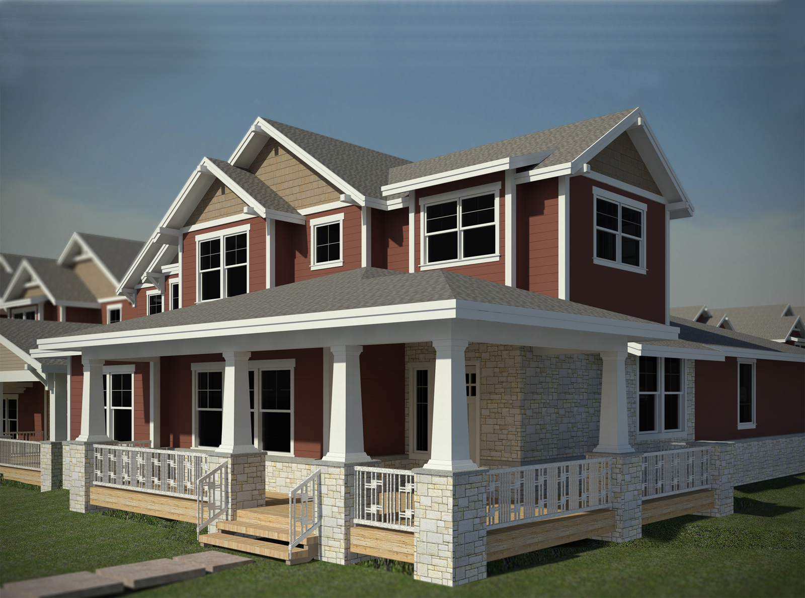 Townhome conceptual architecture from the front porch view