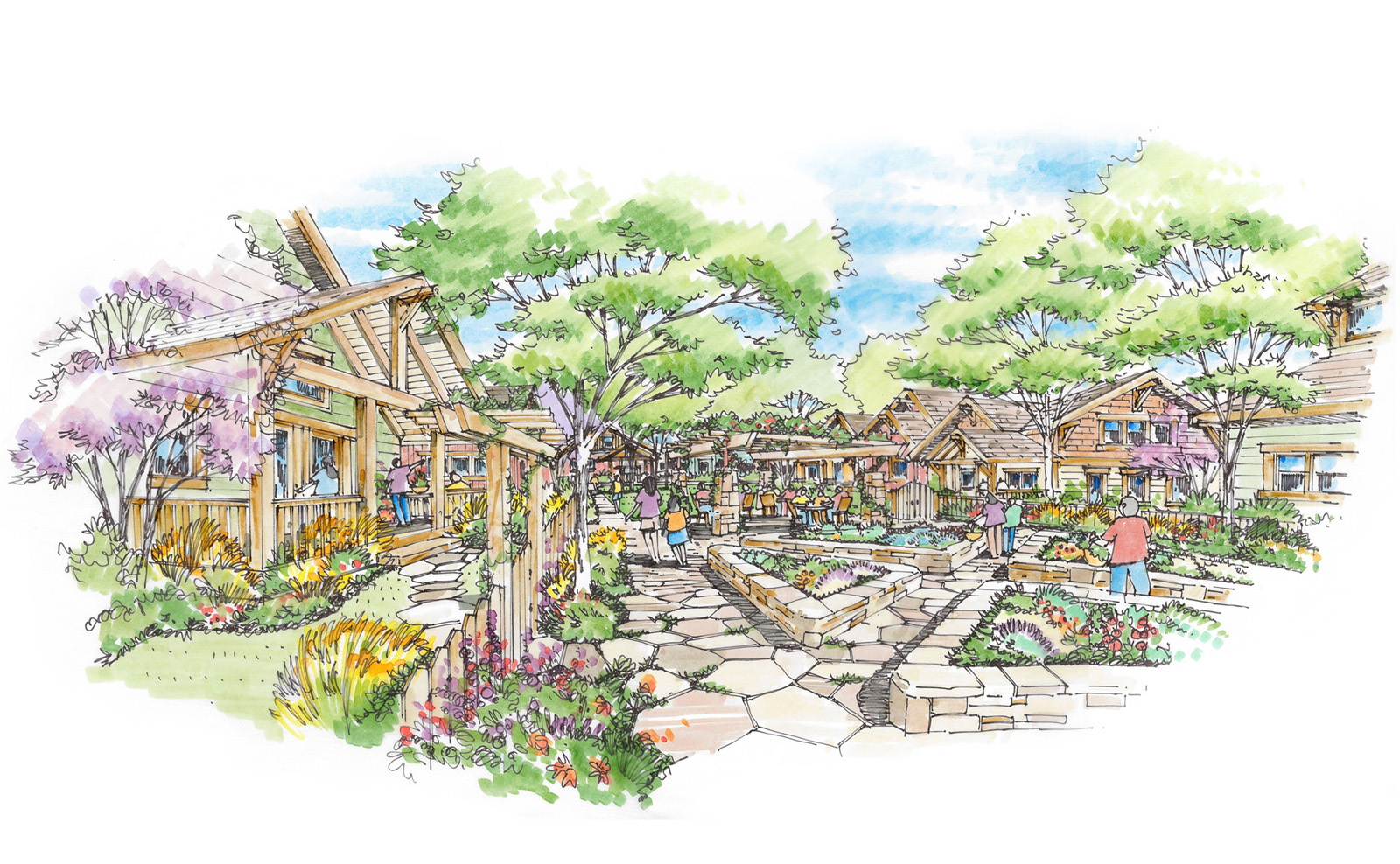 Sketch of the Central Courtyard at Pateros Creek