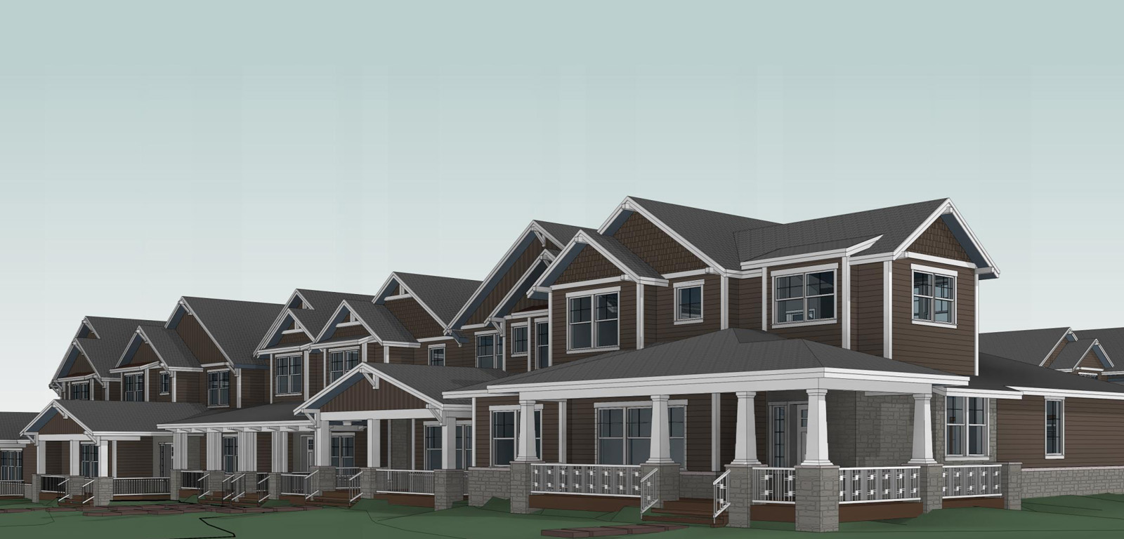 Townhome conceptual architecture from the front view