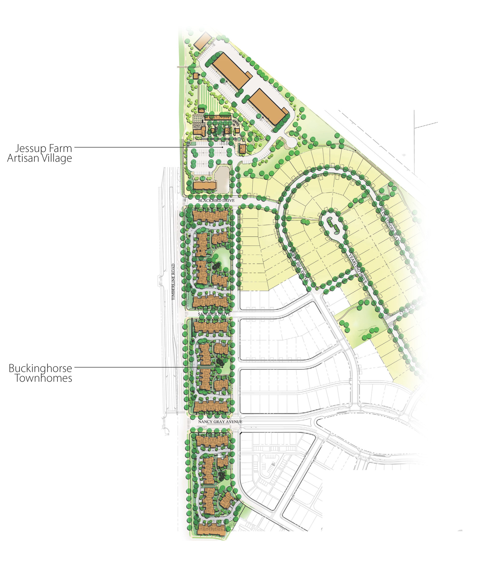 Overall plan of the Townhomes located adjacent to the Jessup Farm Artisan Village