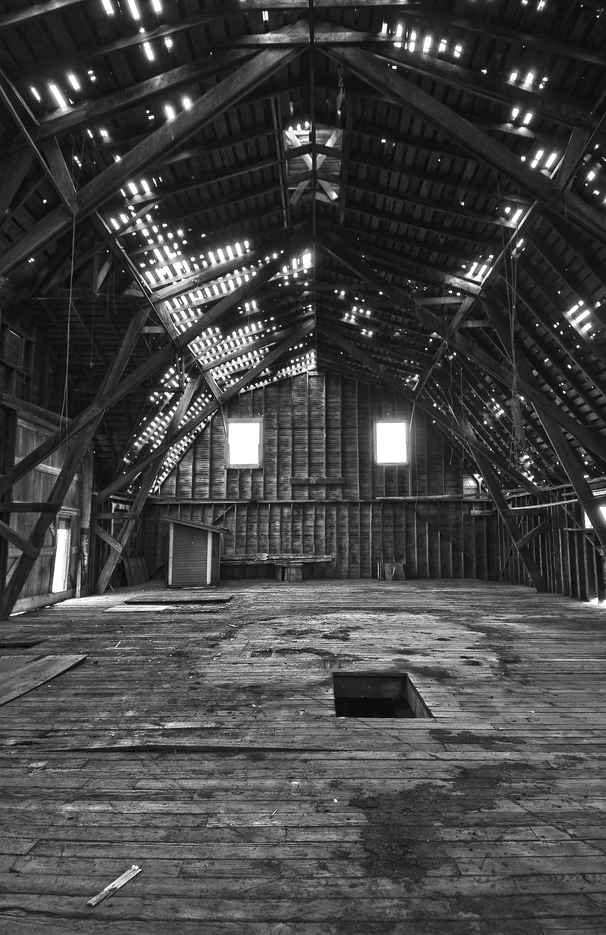 Historic Johnson Farm barn interior at Bucking Horse
