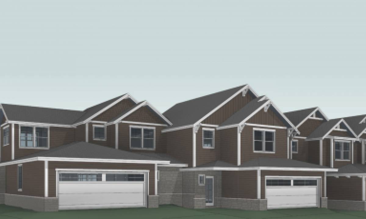 Townhome conceptual architecture from the garage view