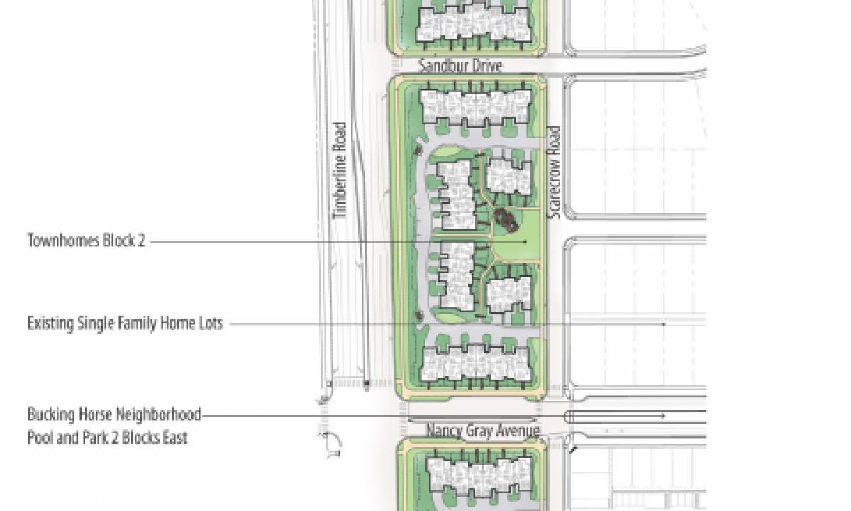Site plan of the 3 blocks of Townhomes