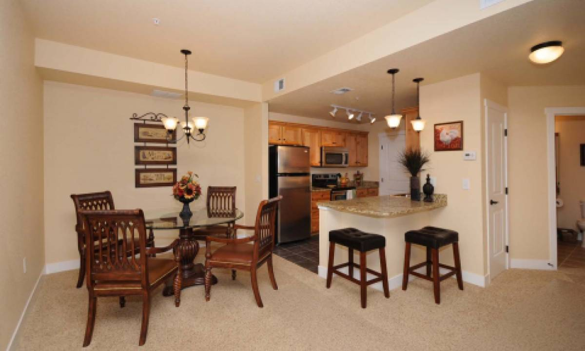 Kitchen and dining spaces are open-concept