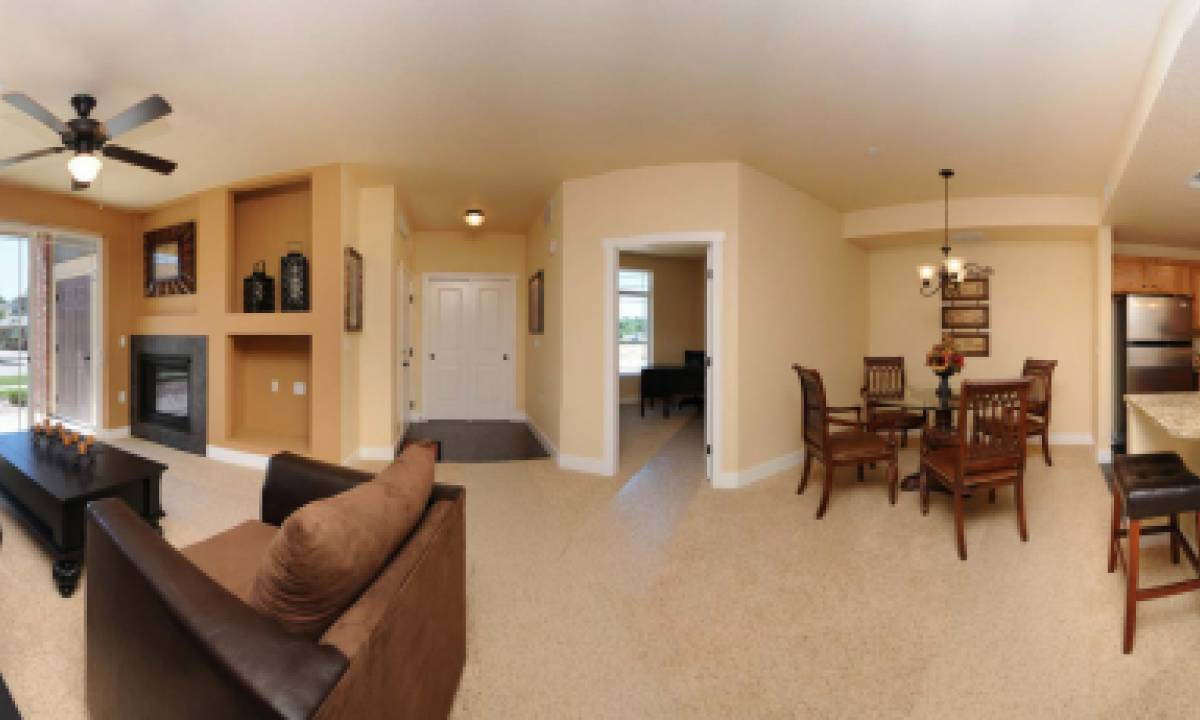 An open concept floor plan is showcased in all the condos
