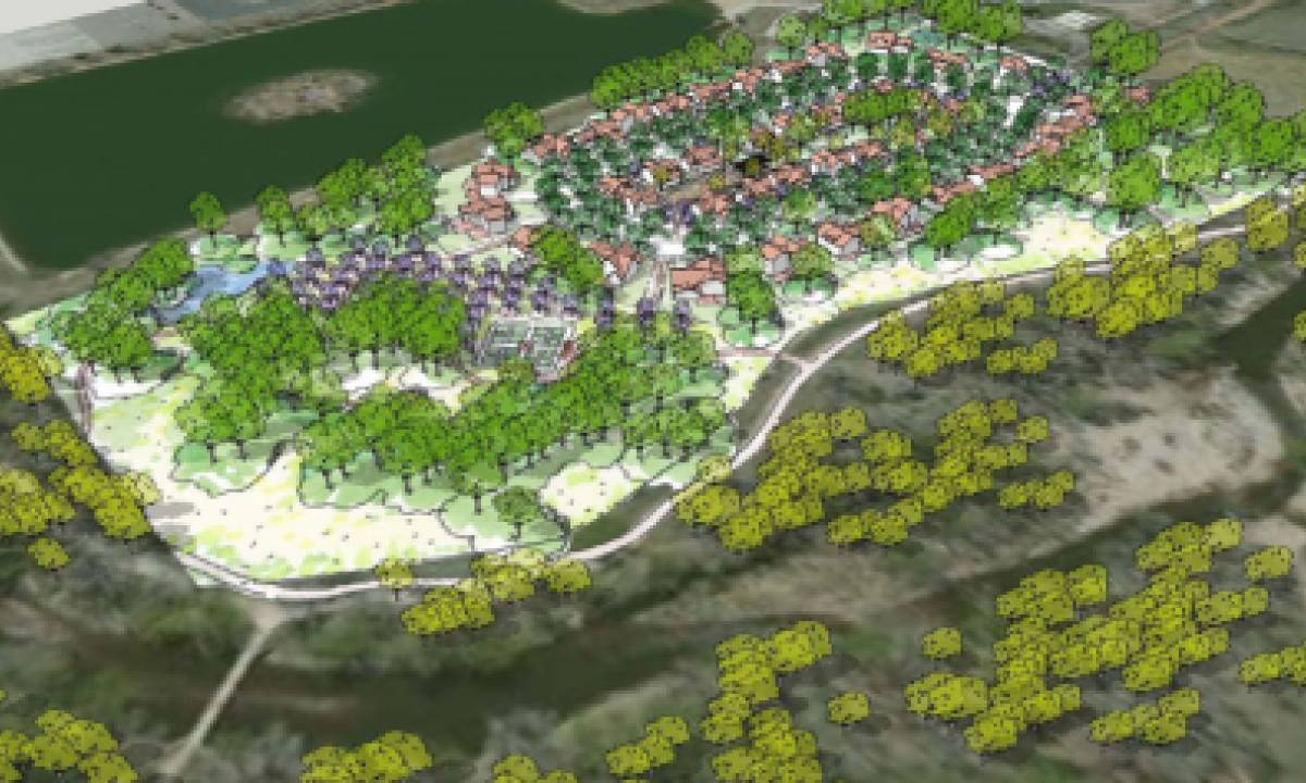3D View of Pateros Creek Concept Plan Looking Southwest