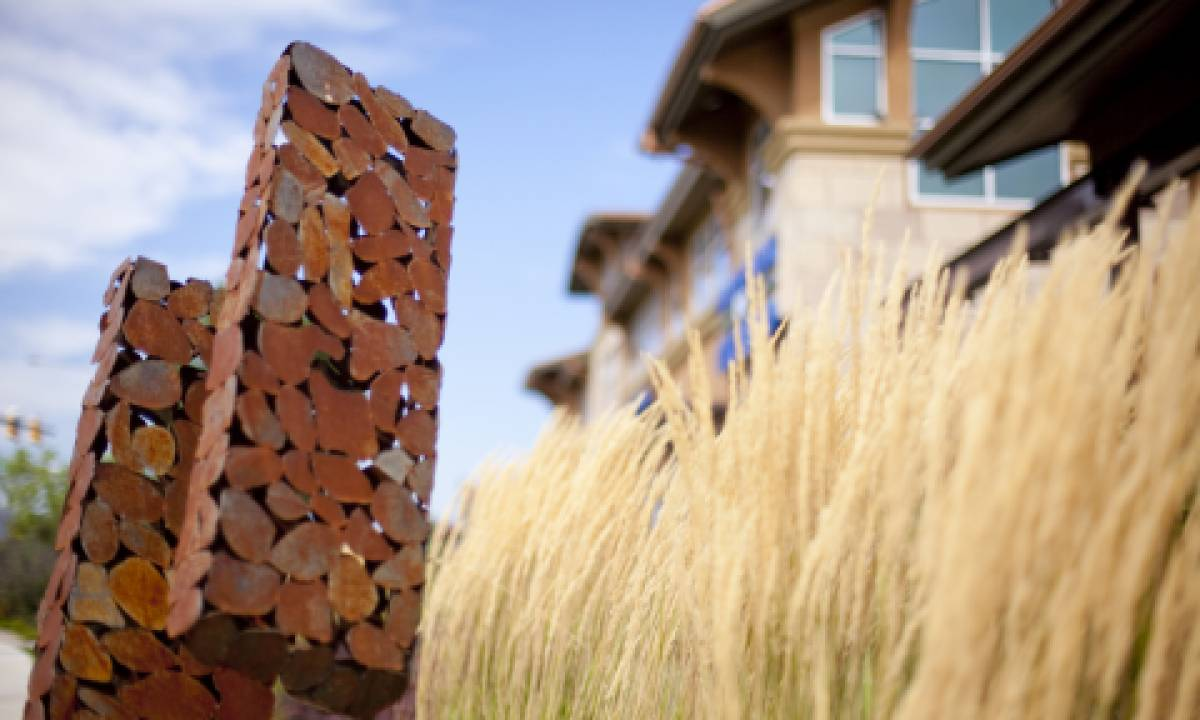 """Sculpture blended with the landscape as part of the """"Arte di Villaggio"""""""